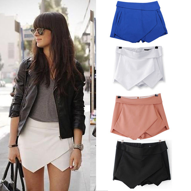 2013 New Fashion Women Wrap Mini Skort Skirt Irregular Laminated Flanging Hot O | eBay