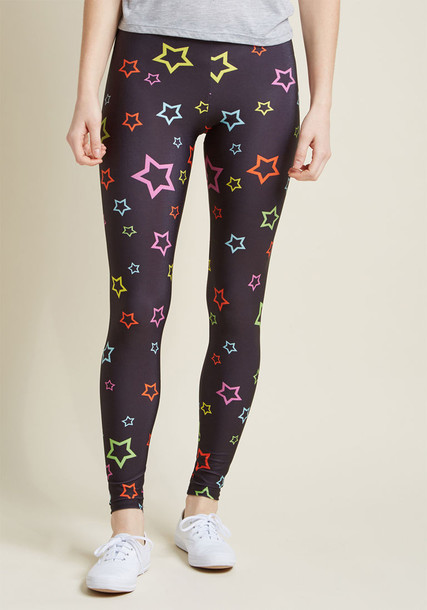 leggings black leggings rainbow high black stars pants