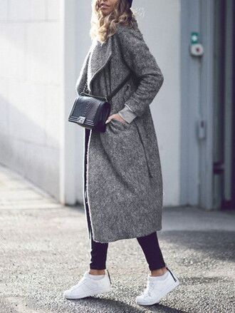 coat black bag grey coat black jeans white sneakers blogger
