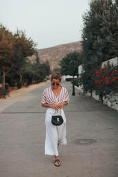 b a r t a b a c,blogger,top,pants,shoes,bag,sunglasses,jewels,sandals,striped top,summer outfits
