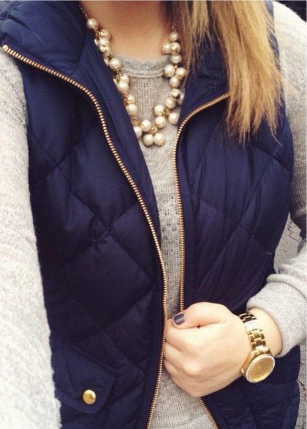 jacket navy jewels down jacket coat jewelry necklace pearl statement necklace vest preppy vest preppy fall outfits clothes top blue