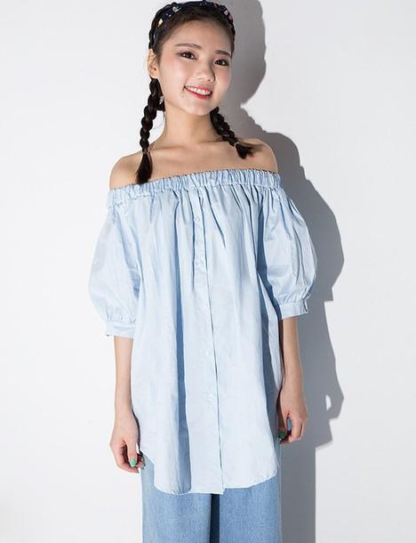 Top off the shoulder top shirt dress tunic blue shirt for Best affordable dress shirts