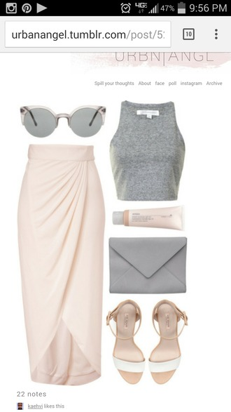 skirt champagne midi skirt slit skirt crop tops grey halter top beige beige skirt nude nude skirt high low skirt