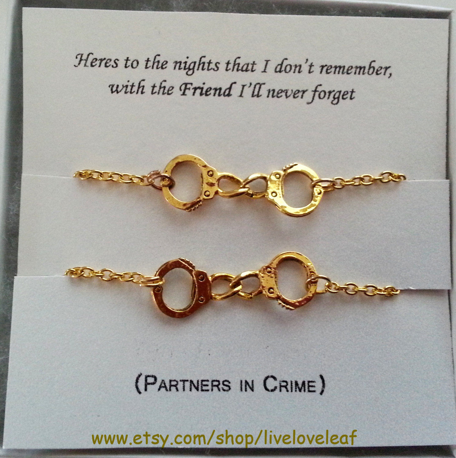 partners in crime matching handcuffs bracelets gold