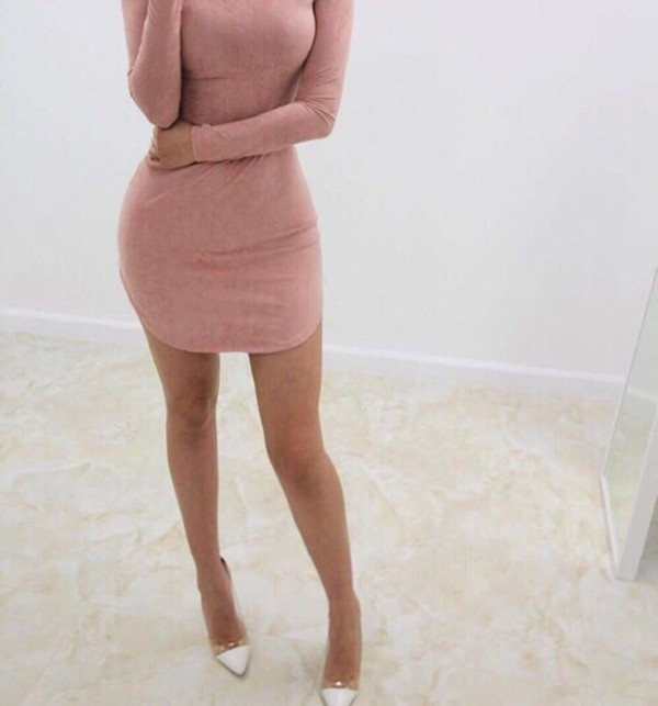 dress pink mini dress long sleeve dress bodycon dress