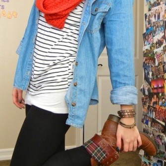 red scarf shoes blouse chambray shirt striped shirt brown leather boots scarf red
