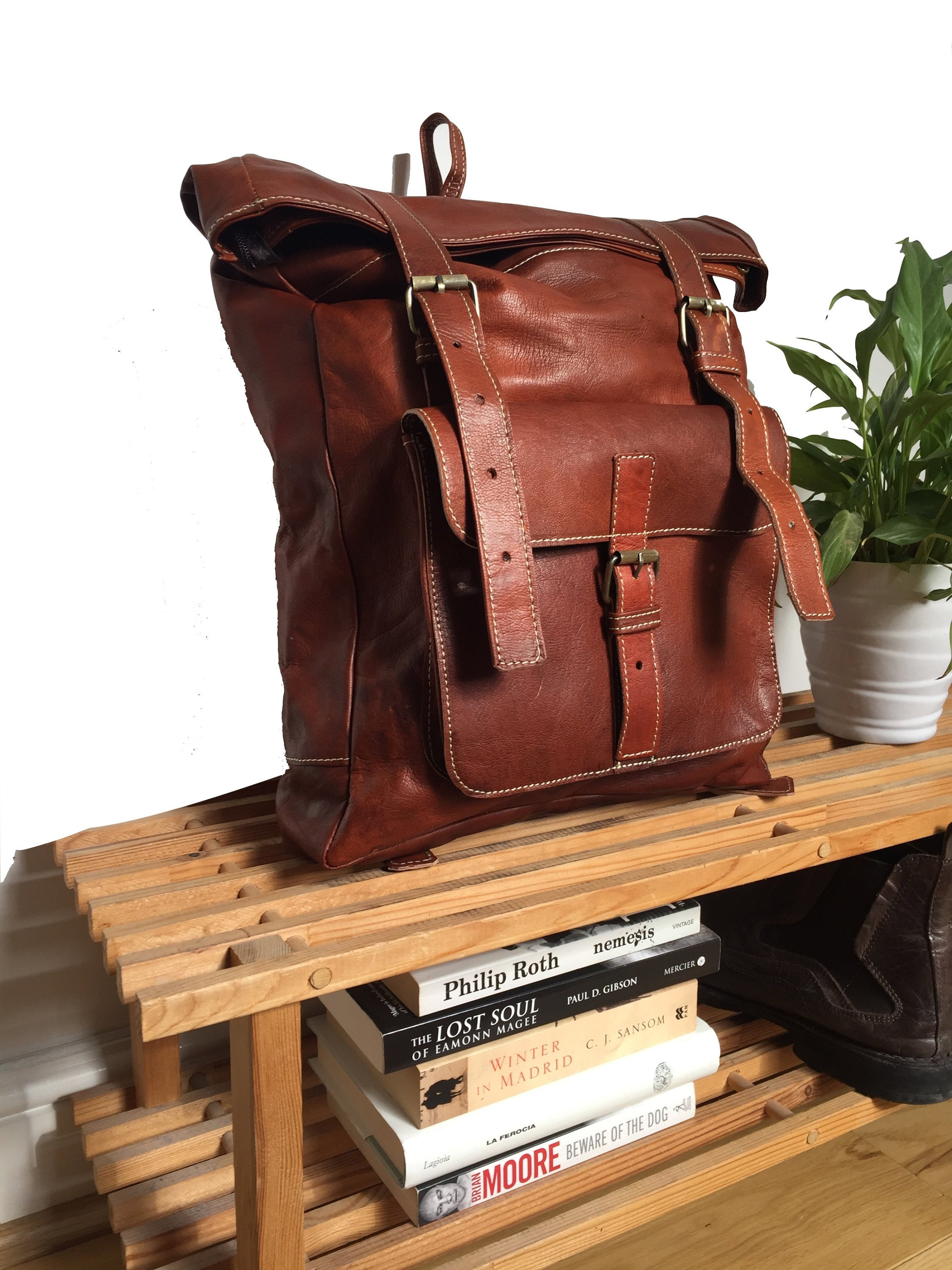 LEATHER BACKPACK, 19 x 13 inches, roll top leather rucksack, leder rucksack, rucksack leather, Hipster Backpack, backpack leather, man bag