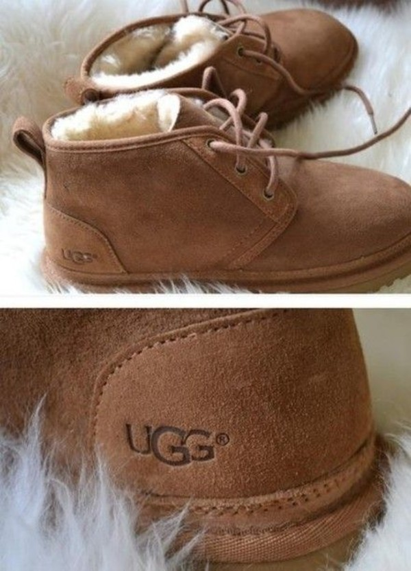 shoes boots lace up brown fluffy ugg boots