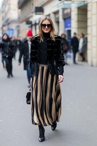 skirt stripes midi skirt olivia palermo streetstyle fashion week 2017 fashion week fur fur coat winter outfits celebrity style
