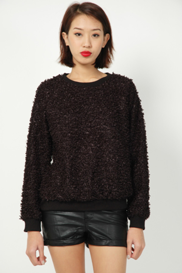 Sweater: fluffy, black, runway bandits, fuzzy sweater - Wheretoget