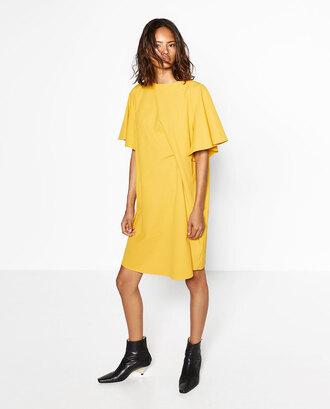 dress yellow dress mini dress zara