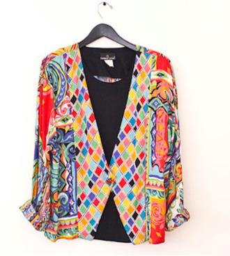 jacket 80s print multicolour jacket aztec aztec jacket bright blazer rolled cuffs harlequin print bold print