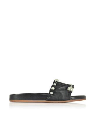 pleated sandals leather black shoes