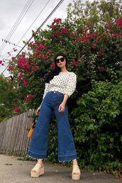 top,platform shoes,flare jeans,polka dots,bag,sunglasses