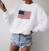 shirt,white,sweater,sweatshirt,american flag,american apparel,usa,winter sweater,stussy,streetstyle,los angeles,cute