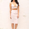 Triangle bralet crop top & peplum pencil skirt co-ord set in cream