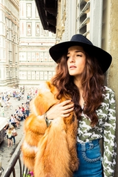 hat,eleonora carisi,the coveteur,event,70s style,blogger,black,black hat,firenze4ever,luxury,new,winter outfits,fall oufits,autumn/winter,2015 winter trends,stylish,italian style,europe,cool,hippie,horse,faux fur,fall outfits,fall colors,alternative