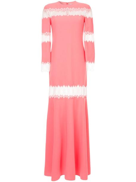 Huishan Zhang gown women spandex lace purple pink dress