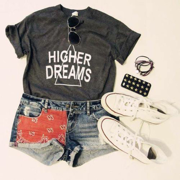 triangle t-shirt quote on it hipster converse
