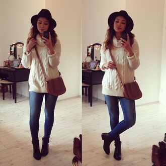hat booties jeans denim knitwear turtleneck bag raspberry jam