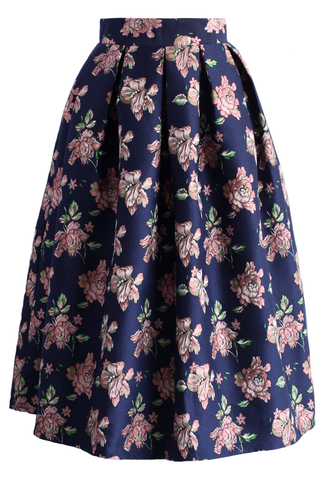 skirt pink flowery midi skirt in navy chicwish navy midi skirt floral skir t printed skirt