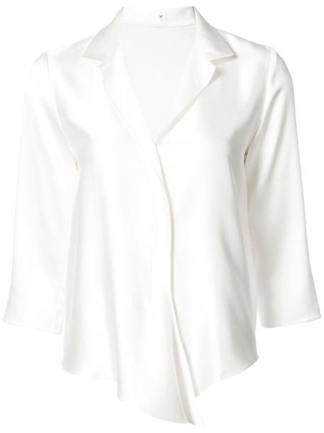Peter Cohen top ruffle women white silk