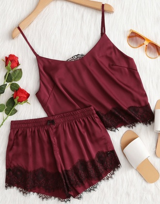 romper girly burgundy satin two-piece crop tops crop cropped shorts lace lounge wear