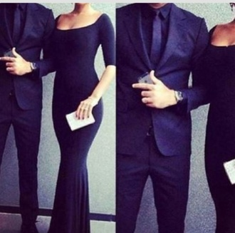 evening dress sexy midnight blue black dress black gown