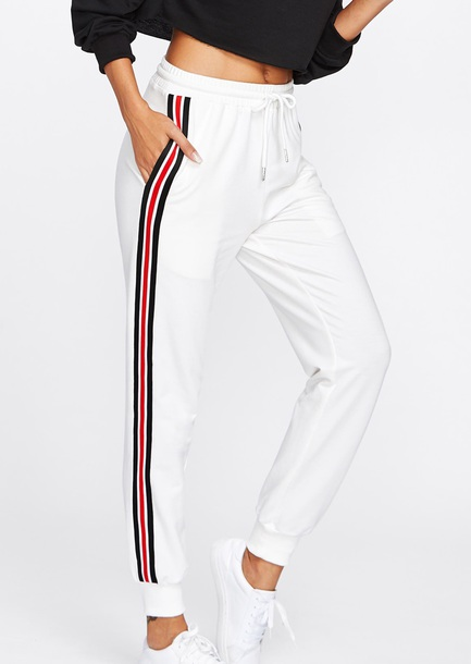 pants girly white joggers sweatpants stripes