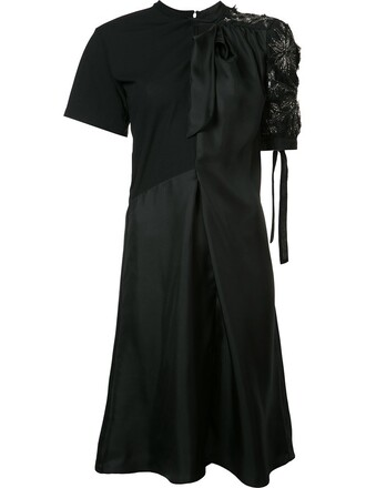 dress satin dress embroidered women cotton black silk satin