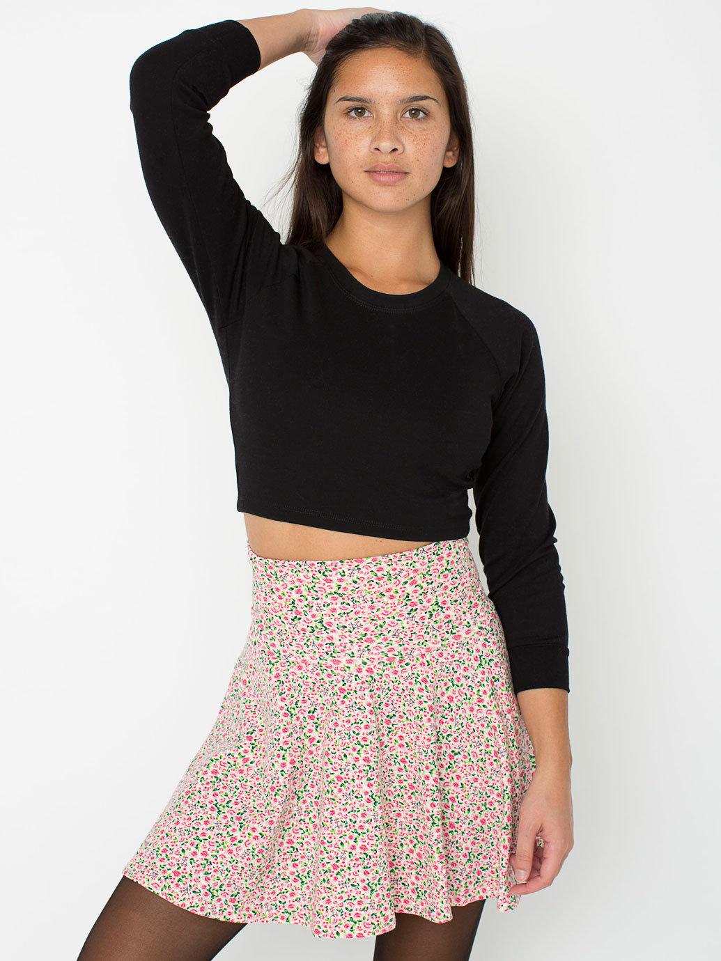 floral printed cotton spandex jersey high waist skirt