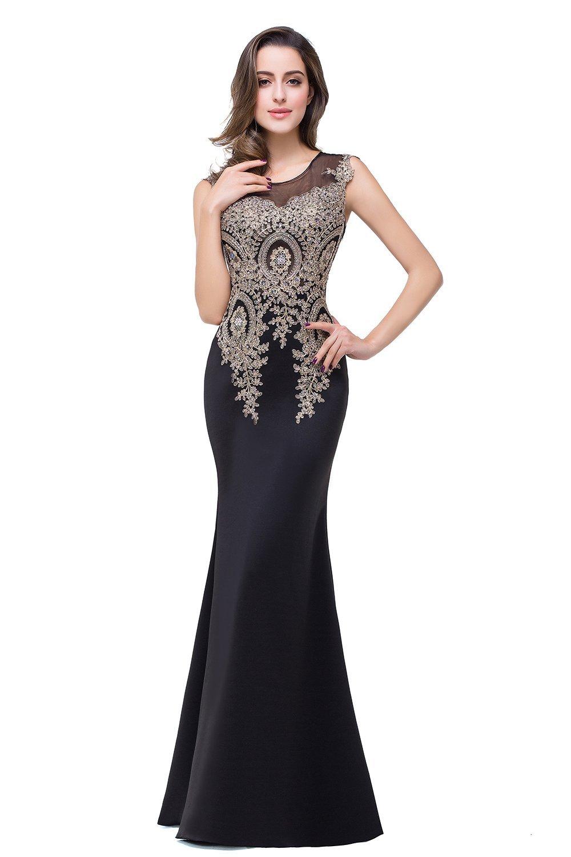 Babyonline Women Elegant Long Black Lace Mermaid Evening Dress ... ddcab24c92