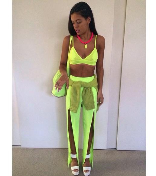 green pants neon green pant set bralette bright