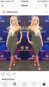 dress,gigi gorgeous,party dress,bodycon dress,green dress,bodycon,off the shoulder,off the shoulder dress,cute,cute dress,red carept,celebrity,celebrity style,celebstyle for less,date outfit,clubwear,girly,girly dress,club dress,sexy party dresses,sexy dress,party outfits,summer dress,summer outfits
