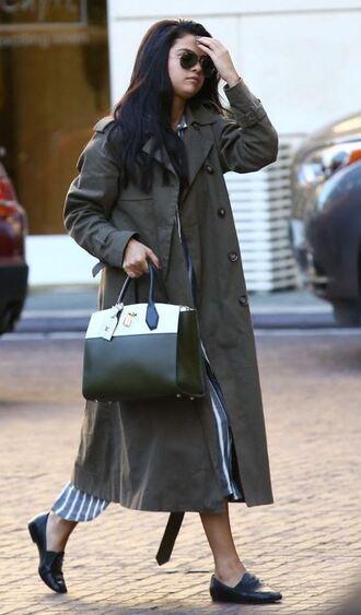 coat trench coat selena gomez fall outfits flats purse