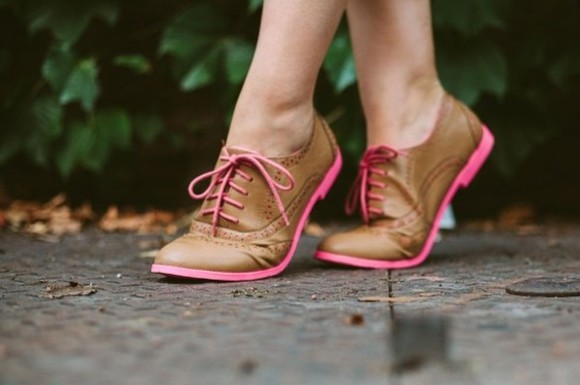 shoes oxfords brown pink
