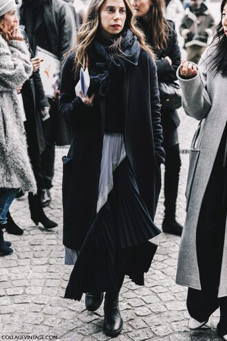 coat tumblr fashion week 2017 streetstyle black coat sweater black sweater skirt pleated pleated skirt asymmetrical asymmetrical skirt boots black boots flat boots scarf winter outfits winter look