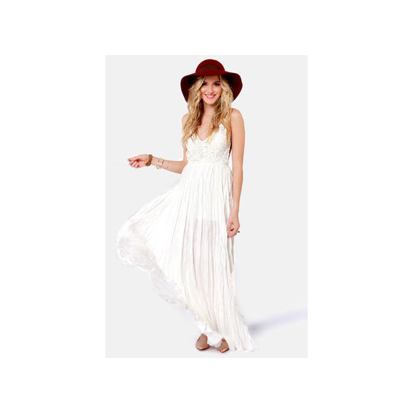 Snowy Meadow Crocheted Ivory Maxi Dress - Polyvore