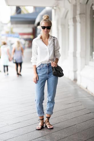 victoria tornegren blogger mom jeans strappy sandals flat sandals white shirt blouse