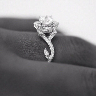 jewels ring rose diamonds diamond ring wedding ring engagement ring ring rose diamonte silver flower beautiful wow roses nail accessories lotus flower dimond rose ring silver ring silver jewelry blouse