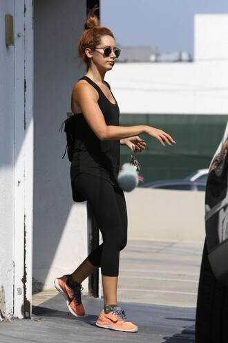 tank top top ashley tisdale sneakers fitness leggings