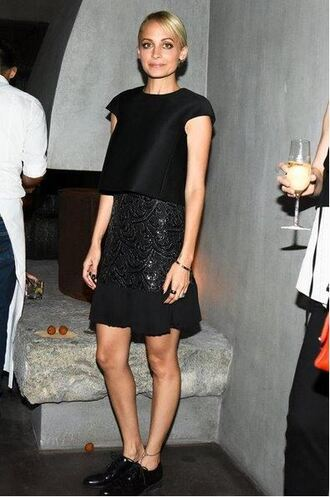 skirt top all black everything nicole richie shoes jewels jewelry bracelets nicole richie style