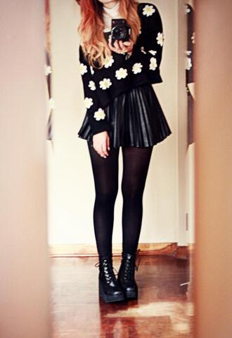 skirt sweater flowers black ineed drmartens winter outfits blouse