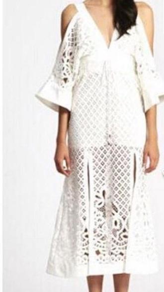 dress white lace dress off the shoulder dress midi dress