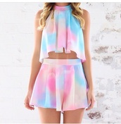 romper,two-piece,dress,rainbow,crop tops,high flowy shorts,jumpsuit,blouse,shorts,skirt,top,shoes,cotton,pastel dress,flowy,cute dress,trendy