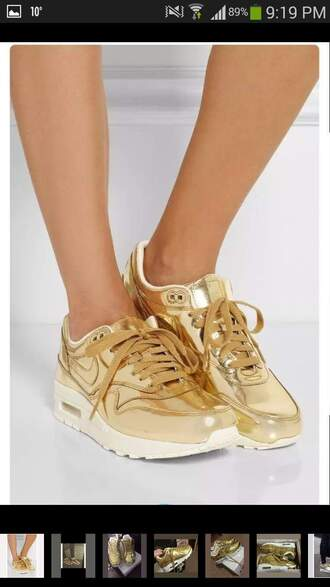 shoes tumblr nike air max gold gold shoes