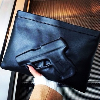 belt gun black clutch bag leather bag bag