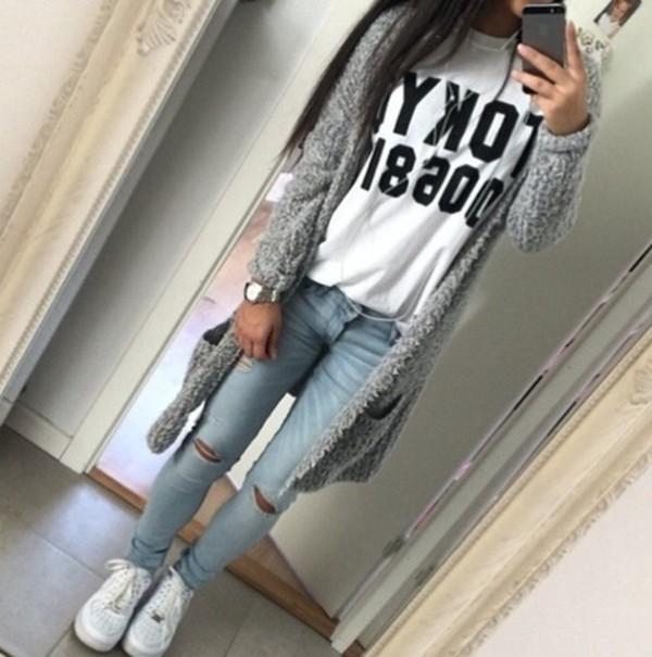 cardigan big cozy grey nice swag long sweaters jeans denim ripped acid wash shirt grey cardigan