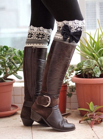 socks bows leg warmers brown leather boots christmas