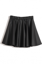 All-Matching Black A-Line PU Mini Skirt - OASAP.com